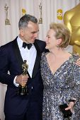 Daniel Day-Lewis and Meryl Streep at the 85th Annual Academy Awards Press Room, Dolby Theater, Holly