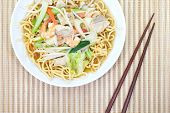image of egg noodles  - chinese food of crunchy fried eggs noodles with pork - JPG