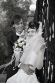 foto of married couple  - Just married couple at summer day Medeo Kazakhstan - JPG