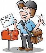 Hand-drawn Vector Illustration Of An Happy Postman