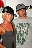 HOLLYWOOD - AUGUST 02: Pink and Carey Hart at Saturn's X-Games 12 Party at 6820 Hollywood Blvd on August 02, 2006 in Hollywood, CA.
