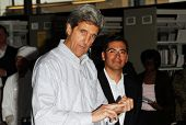 LOS ANGELES - APRIL 10: Sen. John Kerry, Rep. Xavier Becerra on tour of the 31st Congressional Distr