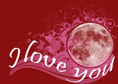 image of moon-flower  - A floral red background with flowers and butterflies around the moon and the text I Love You - JPG