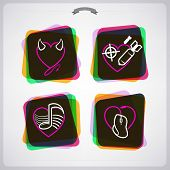 pic of time-bomb  - Valentine time concept icons depicting different love issues from left to right top to bottom: 