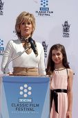 Jane Fonda and Viva Vadim at the Jane Fonda Hand And Foot Print Ceremony as part of the 2013 TCM Cla