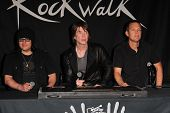 Robby Takac, John Rzeznik, Mike Malinin at the Goo Goo Dolls RockWalk Induction, Guitar Center, Holl