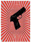 Grunge gun danger red glowing vector background
