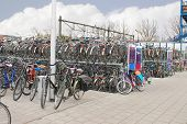 Plenty Bicycles At Parking Lot  In Delft, Netherlands