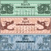 image of mayan  - Vector of spring calendar 2014 with mayan ornaments - JPG