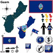 foto of guam  - Vector of Guam set with detailed country shape with region borders flags and icons - JPG