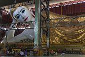 Reclining Budda In Chaukhtatgyi Paya. Yangon. Myanmar.