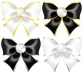 White And Black Bows With Diamonds And Gold Edging