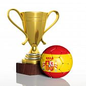 Golden trophy and ball with flag of Spain isolated