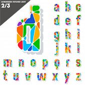 Festive Carnival Font. Multicolored Vector Alphabet. Condensed style. Set 2