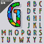 Festive Carnival Font. Multicolored Vector Alphabet. Art deco style  Set 2