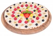 Sweet pizza with fruits isolated on white