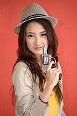 Young Asian Cute Woman With Handgun Revolver
