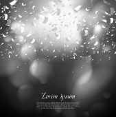 Black and white paper confetti background. Abstract modern greeting vector design