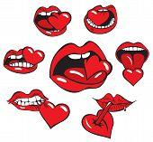 image of ero  - set of drawings of the human mouth and heart mark Valentine - JPG