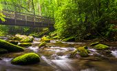 Cascades And Walking Bridge Over The Oconaluftee River, At Great Smoky Mountains National Park, Nort