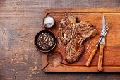 stock photo of t-bone steak  - Grilled T - JPG