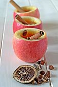 picture of cider apples  - Homemade warm apple cider in apple cups