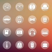 Set Of Flat Hipster Icons On Abstract Blurry Background. Web Design, Mobile Interface, Icons