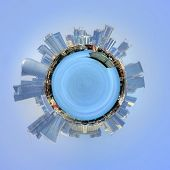 The port of Doha, Qatar and cityscape in a 360 degree circumference around a mini planet with the mo