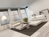Modern black and white sitting room interior with painted white floorboards with a black carpet, a c