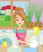 Housewife Washing The Dishes