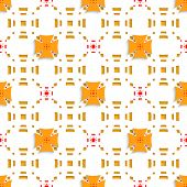 Orange Crosses On Top Perforated Rectangles Seamless