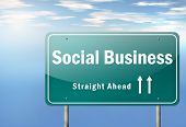 Highway Signpost Social Business