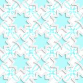 White Snowflakes And White Rhombuses On Flat Blue Ornament Seamless
