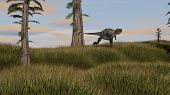 stock photo of dinosaurus  - running aucasaurus dinosaurus - JPG