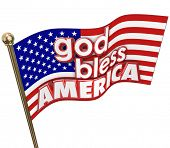 God Bless America words American Unites States flag words in 3d letters stars and stripes