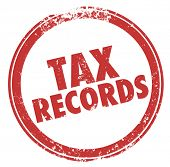 Tax Records words in a round red ink stamp keep files in case of an audit of your finances