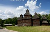 image of farmworker  - Old Resurrection wooden church from Poltavshina region Ukraine - JPG