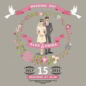 Cute Wedding Invitation With Bride , Groom , Floral Wreath
