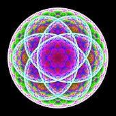 Green Blue Purple Mandala On Black Background