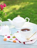 Teapot and cup on table, close-up, in garden