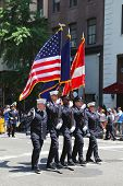 The Color Guard of the New York Police Department during at LGBT Pride Parade in New York