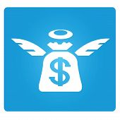 stock photo of blue angels  - angel investor symbol in blue square button - JPG