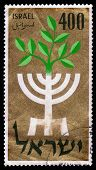 Symbolic Design - A Menorah And A Ten-leaved Branch