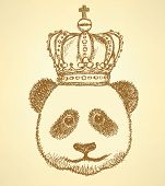 Sketch Panda In Crown, Vintage Background