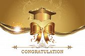 Elegant golden Graduation card for print