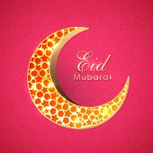 Beautiful red stars decorated golden crescent moon on red background for muslim community festival E