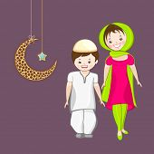 Religious muslim girl and boy holding hands each other with hanging moon and star on purple backgrou