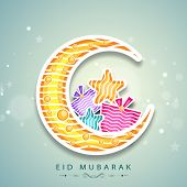 Muslim community festival Eid Mubarak celebrations with crescent moon, colorful stars and gift box o