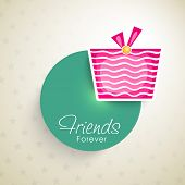 picture of  friends forever  - Stylish sticky with pink gift boxes and text Friends Forever on seamless beige background for Happy Friendship Day celebrations - JPG