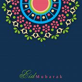 Colorful floral decorated greeting card design for Muslim community festival Eid Mubarak celebration